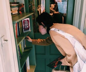 book store, books, and outfit image