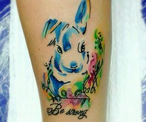 tattoo, rabbit tattoo, and watercolor tattoo image