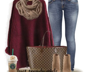 louis vuitton bag, ootd, and maroon sweater image