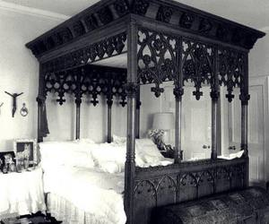 bed, bedroom, and gothic image