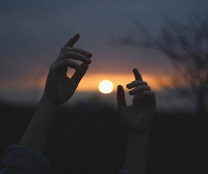 hands, sun, and sunset image