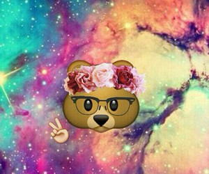 emoji, bear, and galaxy image