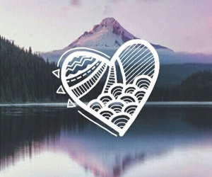 heart, wallpaper, and mountain image