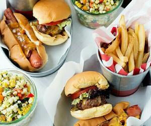 food, burger, and hot dog image
