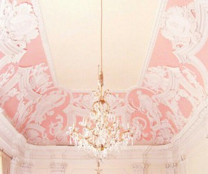 pink, vintage, and ceiling image