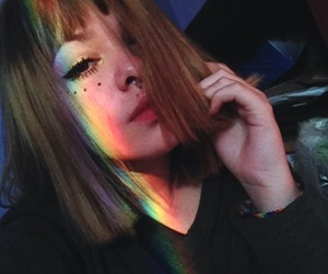 girl, rainbow, and aesthetic image
