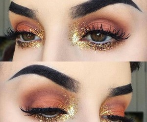 cosmetics, eyes, and gold image