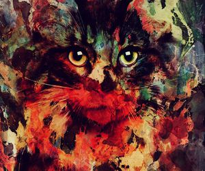 art, gallery, and cat image