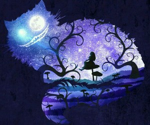 alice, cat, and alice in wonderland image