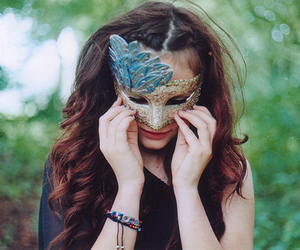 girl, mask, and vintage image