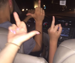 car, middle finger, and fun image