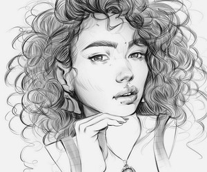 girl, sketch, and curly hair girl image