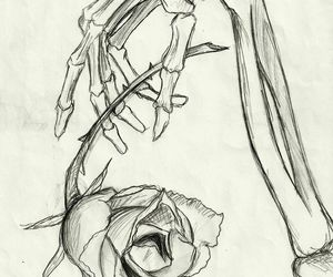 bones, flower, and drawing image