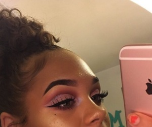 crease, curly hair, and eye makeup image