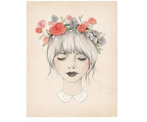 draw, girl, and flores image