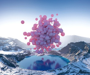 balloons, pink, and mountains image