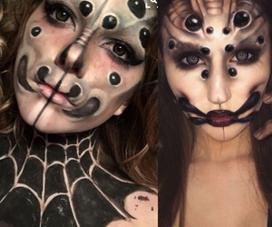 face paint, body paint, and scary image