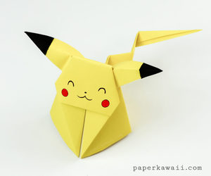 kawaii, origami, and pikachu image