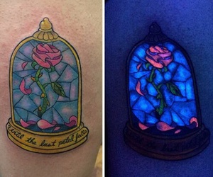 tattoo, beauty and the beast, and rose image