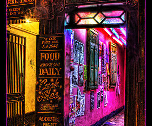 alley, bar, and evil eye image