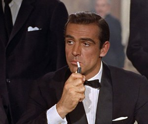 James Bond, cigarette, and Sean Connery image