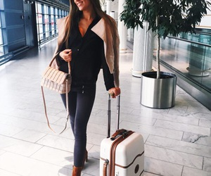 airport, blogger, and brunette image
