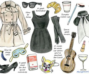 audrey hepburn, Breakfast at Tiffany's, and drawing image
