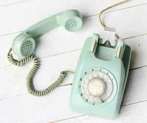 vintage, phone, and blue image
