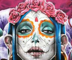 art, graffiti, and sugar skull image