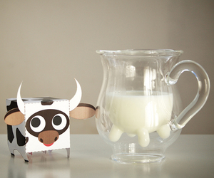 cow, milk, and double glass image