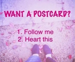 postcard, follow, and heart image