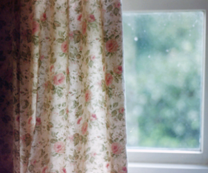 window, floral, and curtains image