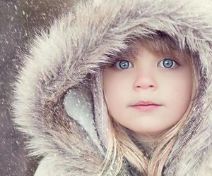 child, eyes, and snow image