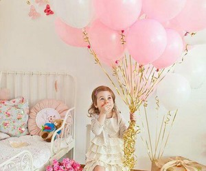 pink, balloons, and baby image