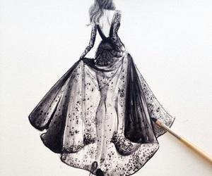 dress, drawing, and art image