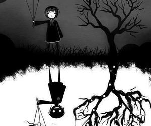 black and white, dark, and art image