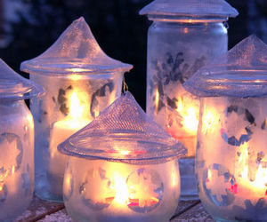 candles, lanterns, and winter image
