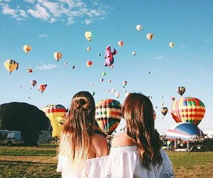 best friends, balloons, and girl image