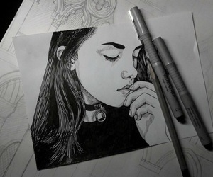 art, girl, and drawing image