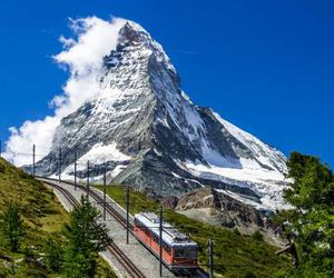 mountain, nature, and train image