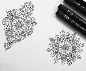 black, drawing, and mandala image