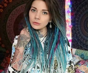 blue, brown, and dreads image