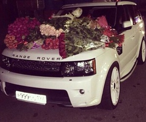 car, flowers, and range rover image