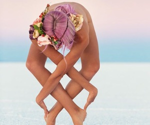 yoga, flowers, and beach image