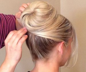 blonde, bun, and fashion image