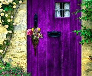 door, purple, and flowers image