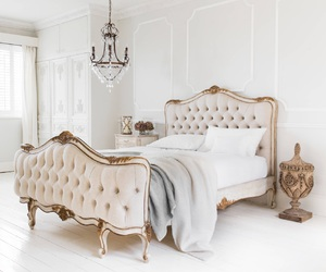white, white bedroom, and white decoration image