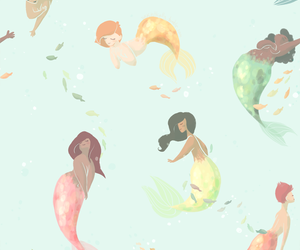 mermaid, patterns, and water image