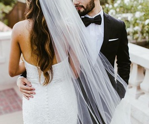 just married, wedding dress, and weddings image
