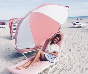 beach, girls, and pink image